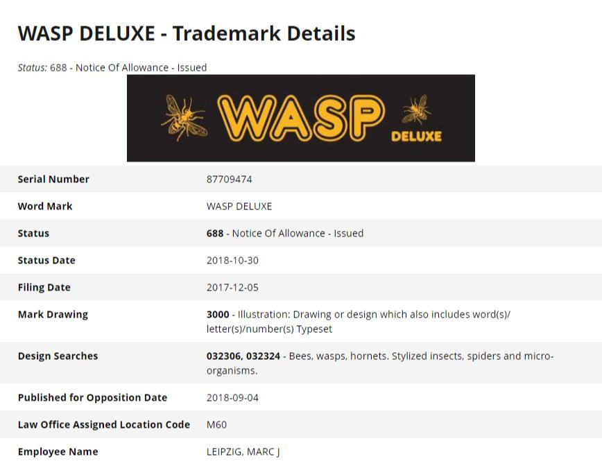 Wasp Deluxe - rejestracja znaku towarowego